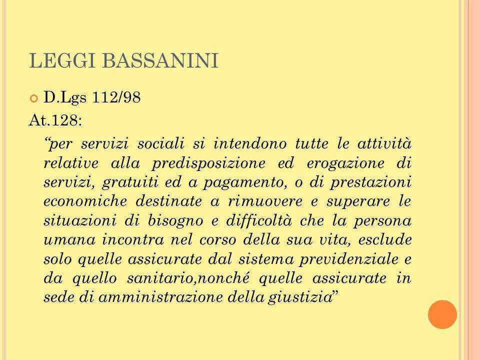 LEGGI BASSANINI D.Lgs 112/98 At.128: