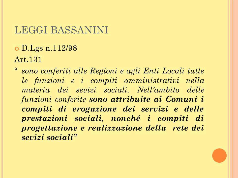 LEGGI BASSANINI D.Lgs n.112/98 Art.131