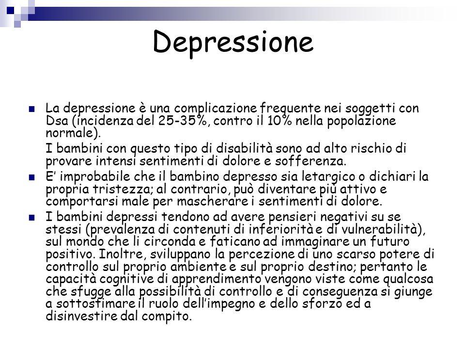 Depressione La depressione è una complicazione frequente nei soggetti con Dsa (incidenza del 25-35%, contro il 10% nella popolazione normale).