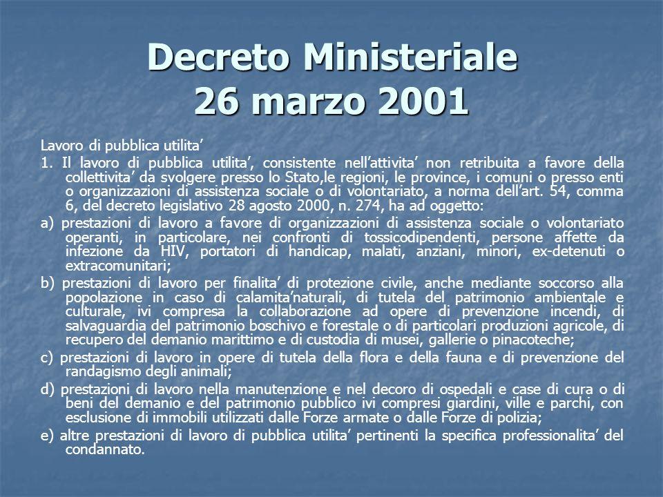 Decreto Ministeriale 26 marzo 2001