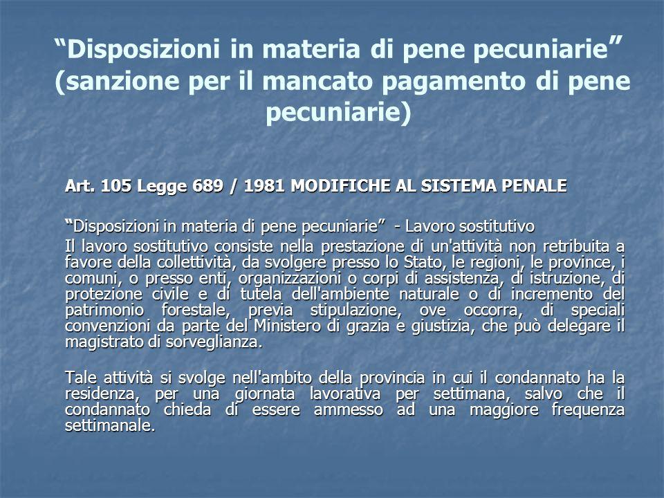 Disposizioni in materia di pene pecuniarie (sanzione per il mancato pagamento di pene pecuniarie)