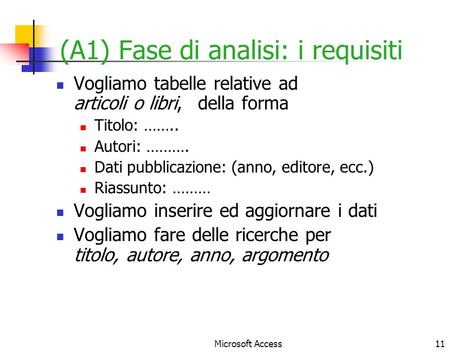 (A1) Fase di analisi: i requisiti