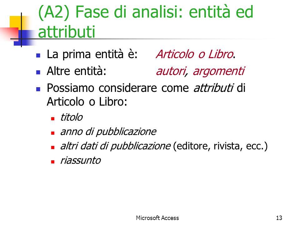 (A2) Fase di analisi: entità ed attributi