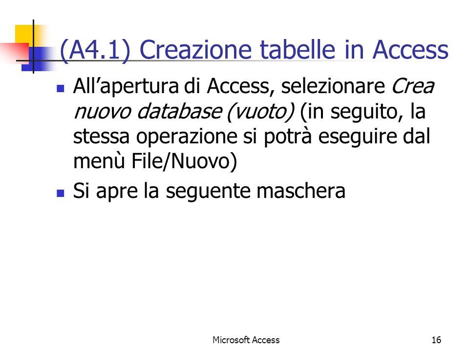 (A4.1) Creazione tabelle in Access