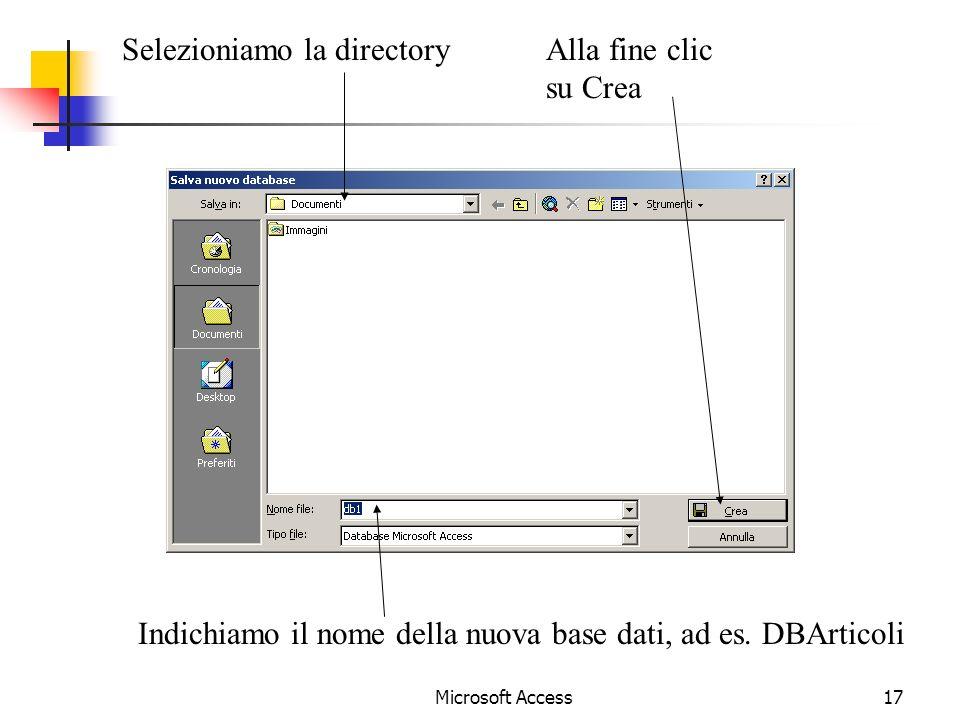 Selezioniamo la directory Alla fine clic su Crea