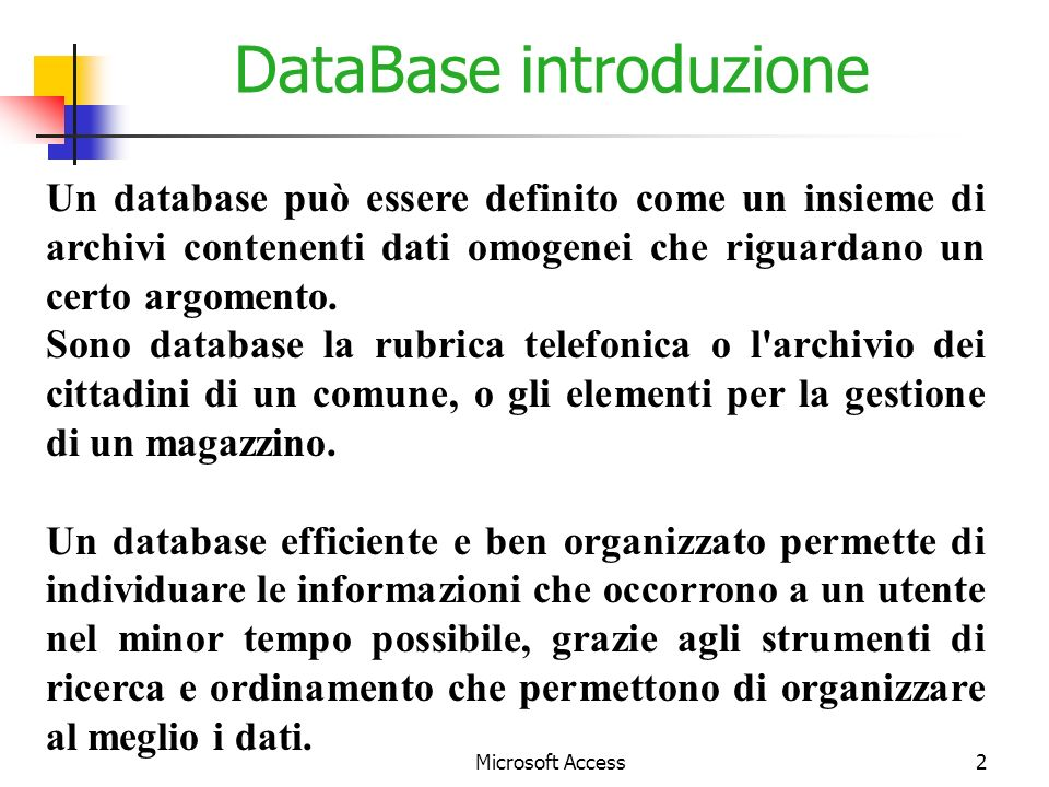 DataBase introduzione