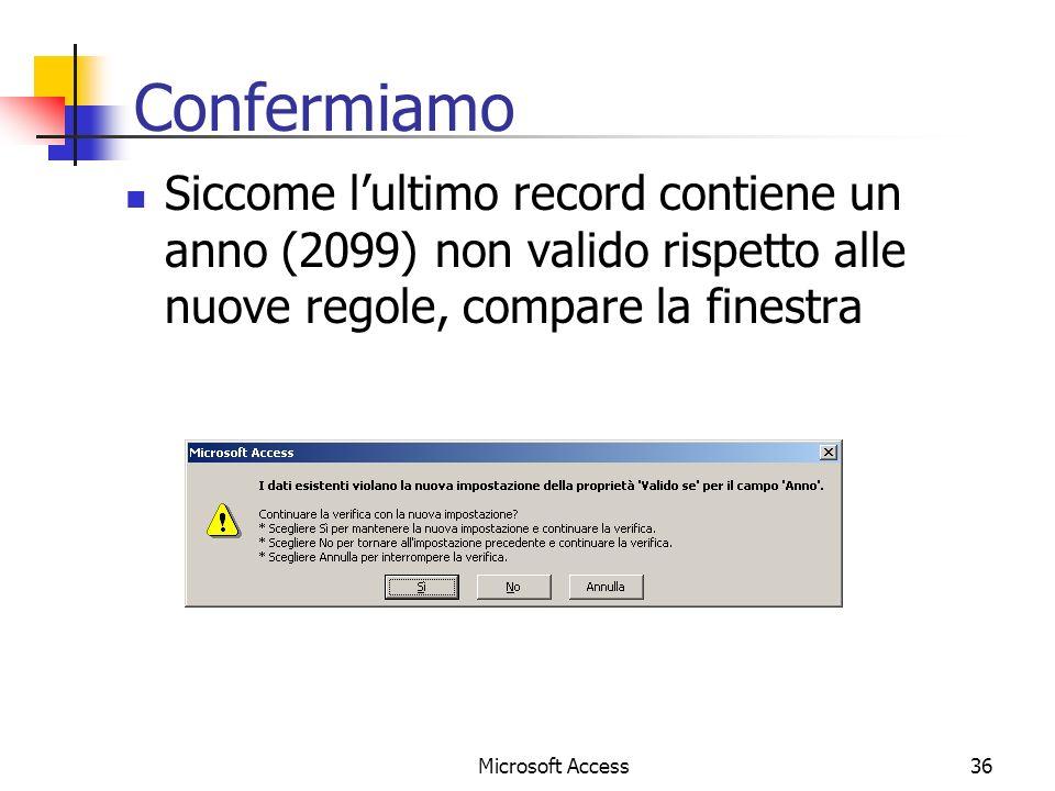 Confermiamo Siccome l'ultimo record contiene un anno (2099) non valido rispetto alle nuove regole, compare la finestra.