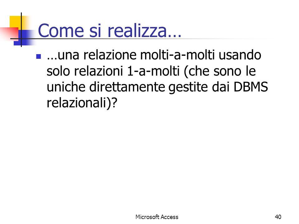 Come si realizza… …una relazione molti-a-molti usando solo relazioni 1-a-molti (che sono le uniche direttamente gestite dai DBMS relazionali)