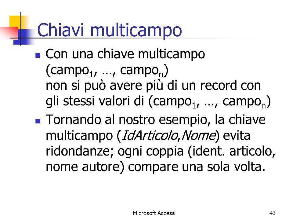 Chiavi multicampo Con una chiave multicampo (campo1, …, campon) non si può avere più di un record con gli stessi valori di (campo1, …, campon)