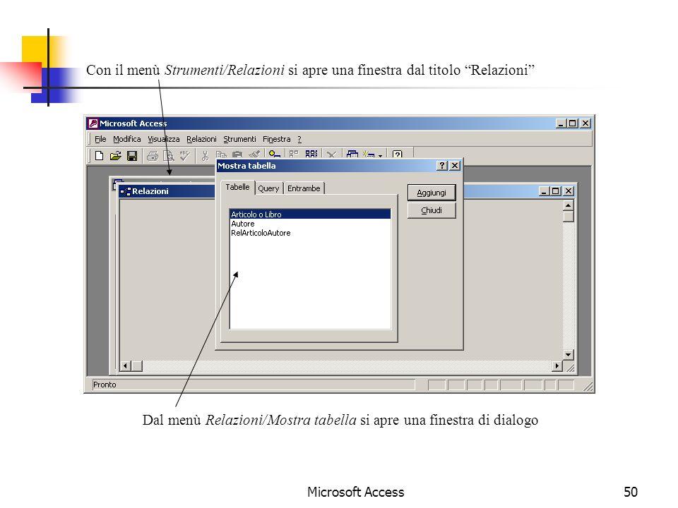 Dal menù Relazioni/Mostra tabella si apre una finestra di dialogo