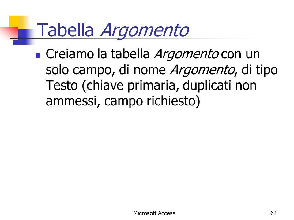 Tabella Argomento