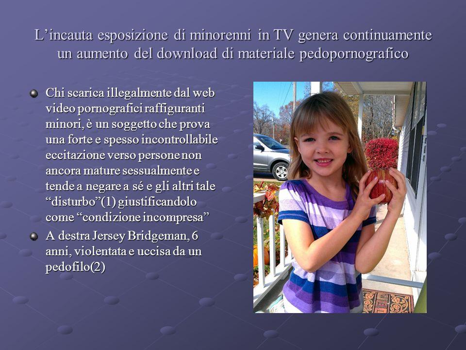 L'incauta esposizione di minorenni in TV genera continuamente un aumento del download di materiale pedopornografico