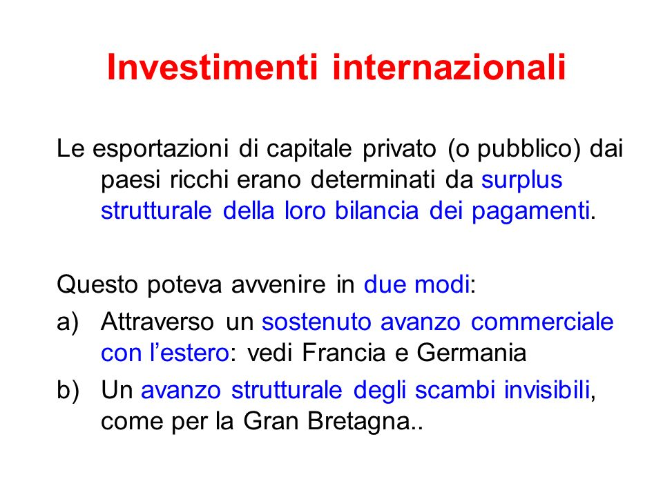 Investimenti internazionali