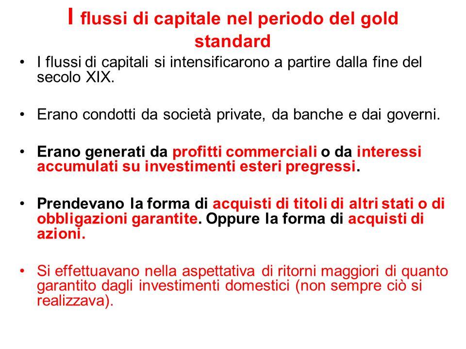 I flussi di capitale nel periodo del gold standard