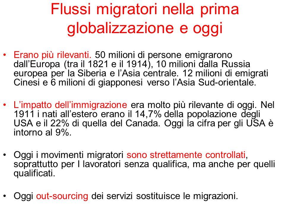 Flussi migratori nella prima globalizzazione e oggi