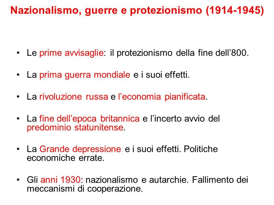 Nazionalismo, guerre e protezionismo (1914-1945)