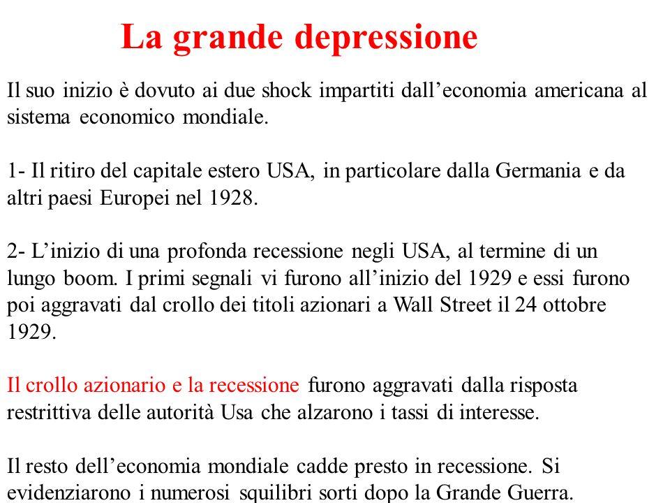 La grande depressioneIl suo inizio è dovuto ai due shock impartiti dall'economia americana al sistema economico mondiale.
