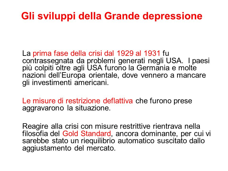 Gli sviluppi della Grande depressione