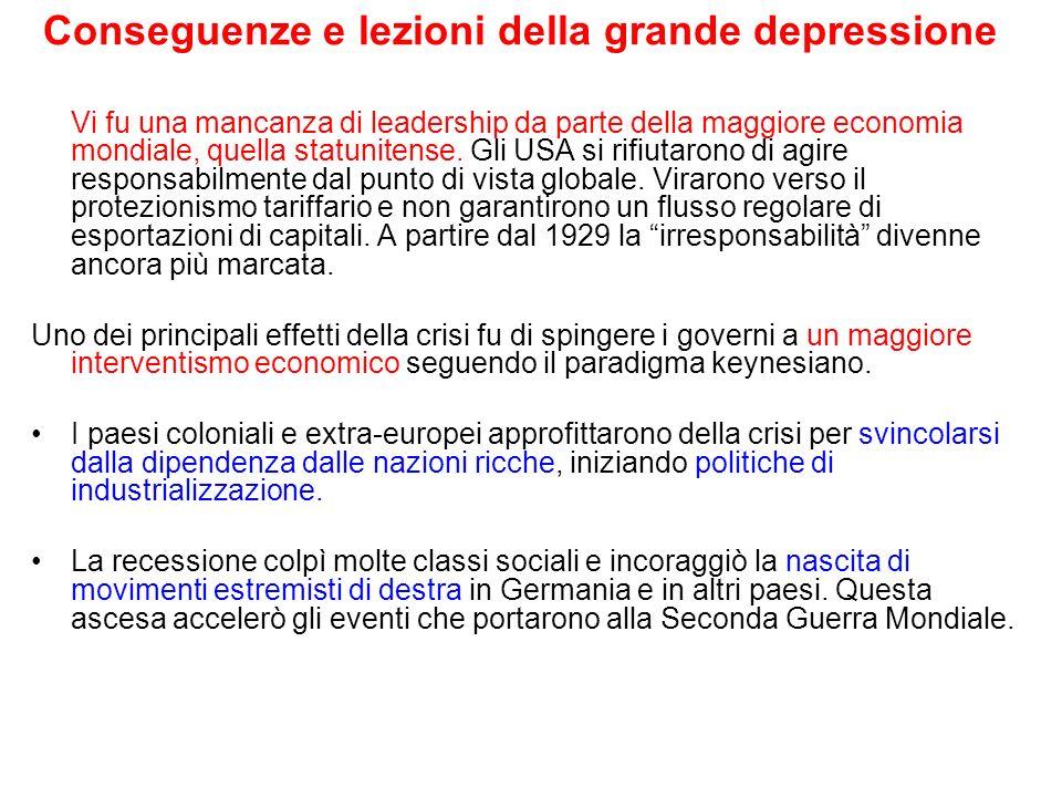 Conseguenze e lezioni della grande depressione