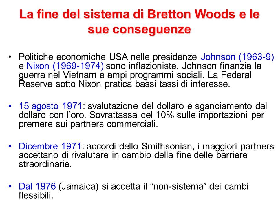 La fine del sistema di Bretton Woods e le sue conseguenze