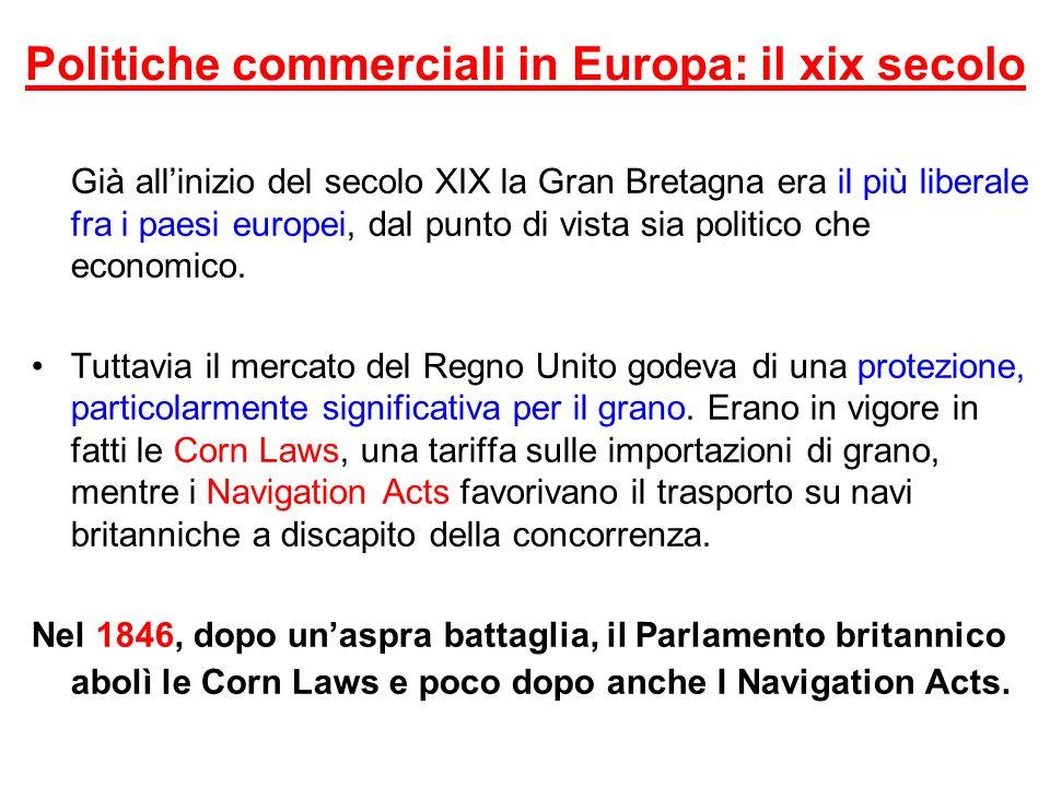 Politiche commerciali in Europa: il xix secolo