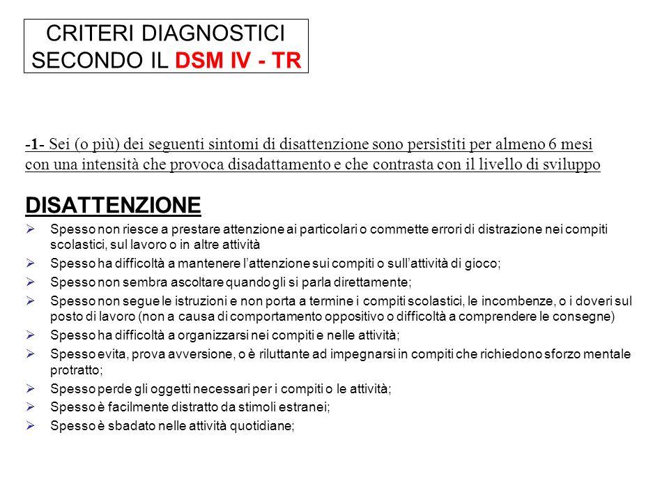 CRITERI DIAGNOSTICI SECONDO IL DSM IV - TR