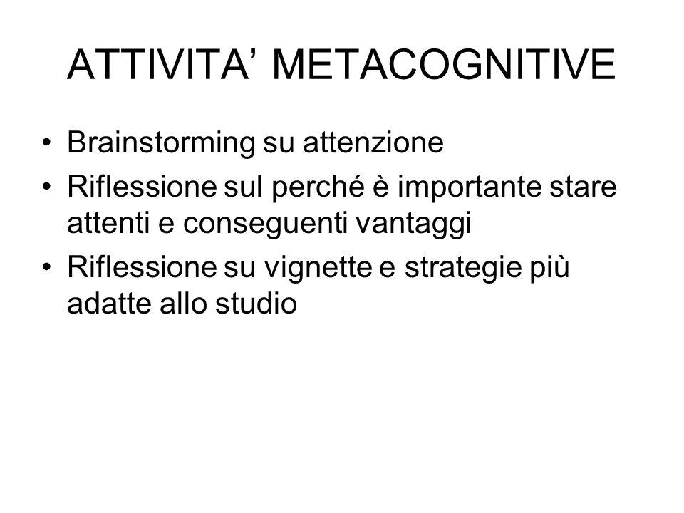 ATTIVITA' METACOGNITIVE