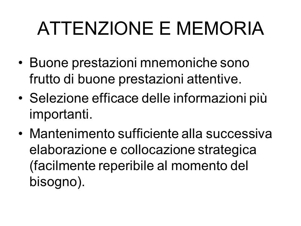 ATTENZIONE E MEMORIA Buone prestazioni mnemoniche sono frutto di buone prestazioni attentive. Selezione efficace delle informazioni più importanti.
