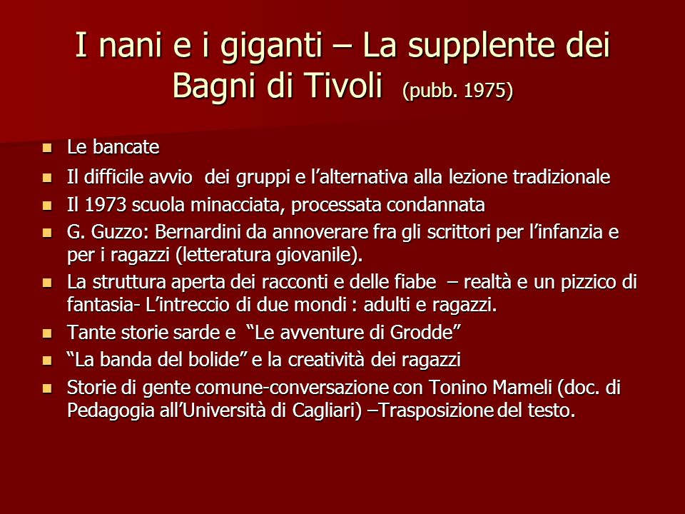 I nani e i giganti – La supplente dei Bagni di Tivoli (pubb. 1975)