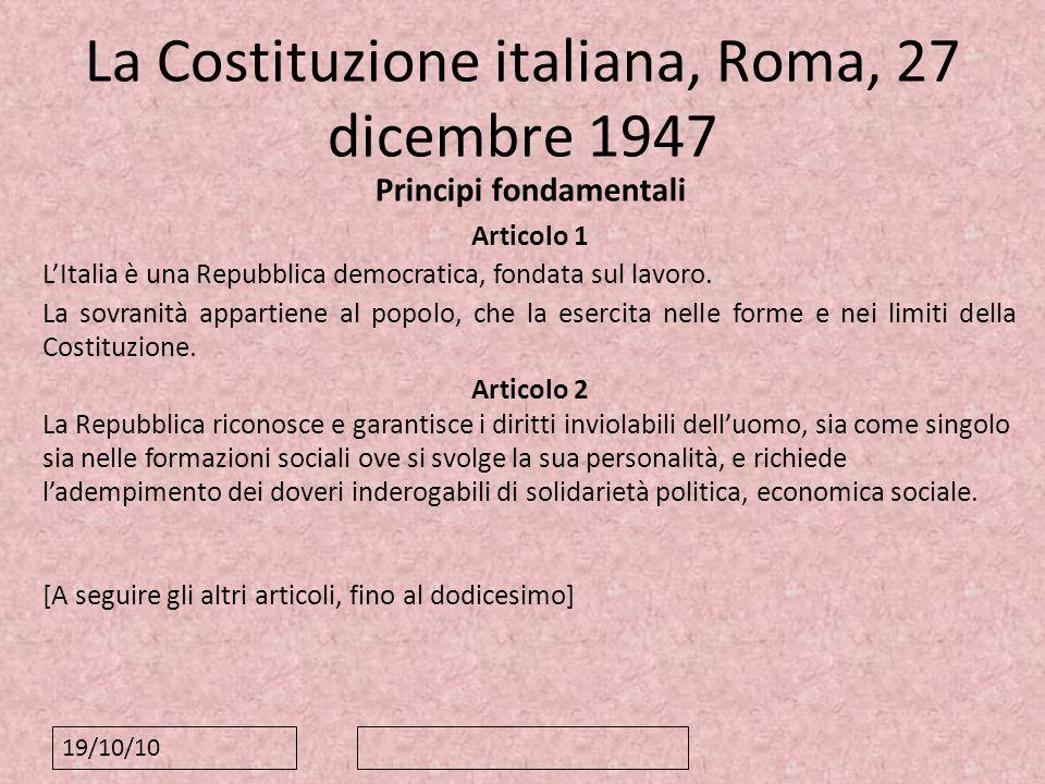 La Costituzione italiana, Roma, 27 dicembre 1947
