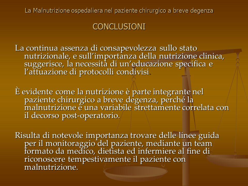 La Malnutrizione ospedaliera nel paziente chirurgico a breve degenza