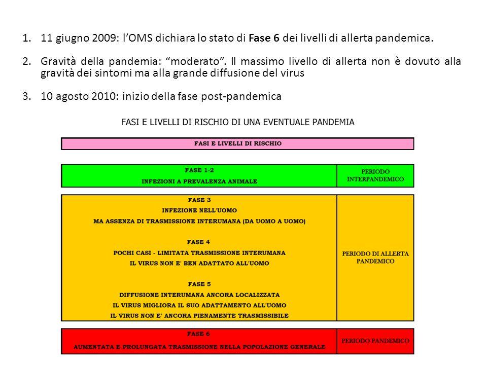 11 giugno 2009: l'OMS dichiara lo stato di Fase 6 dei livelli di allerta pandemica.