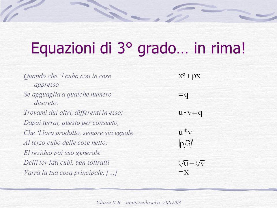 Equazioni di 3° grado… in rima!