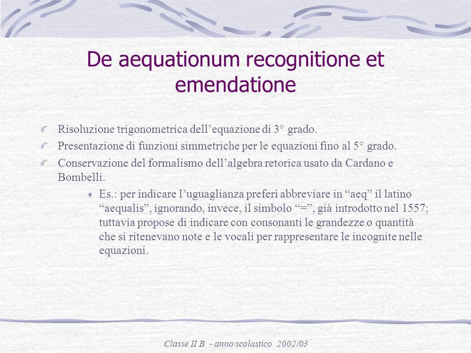 De aequationum recognitione et emendatione