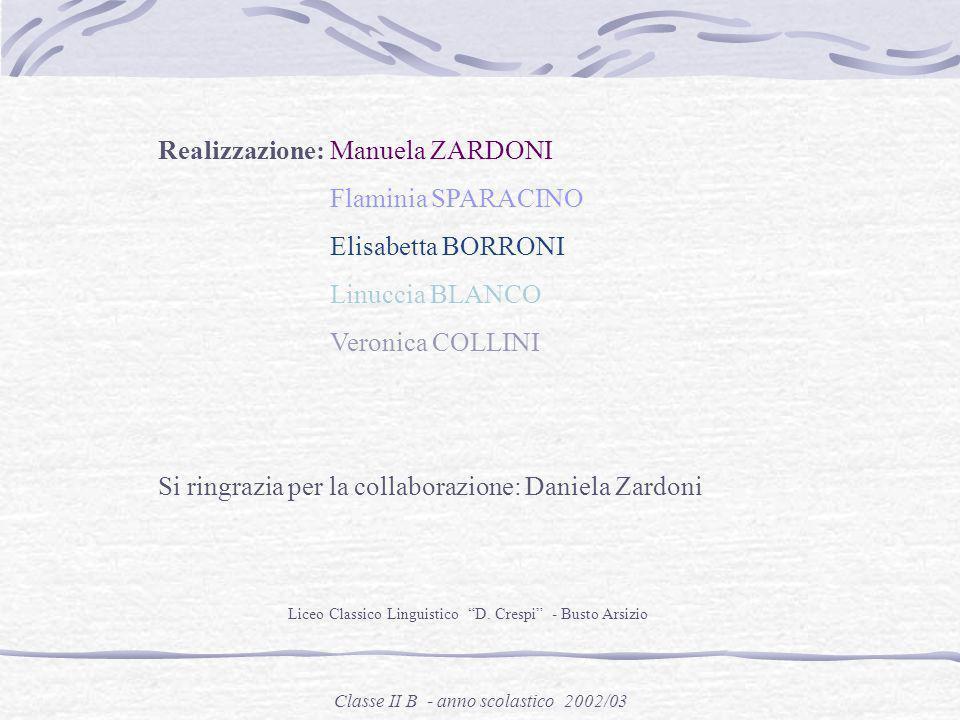 Realizzazione: Manuela ZARDONI Flaminia SPARACINO Elisabetta BORRONI