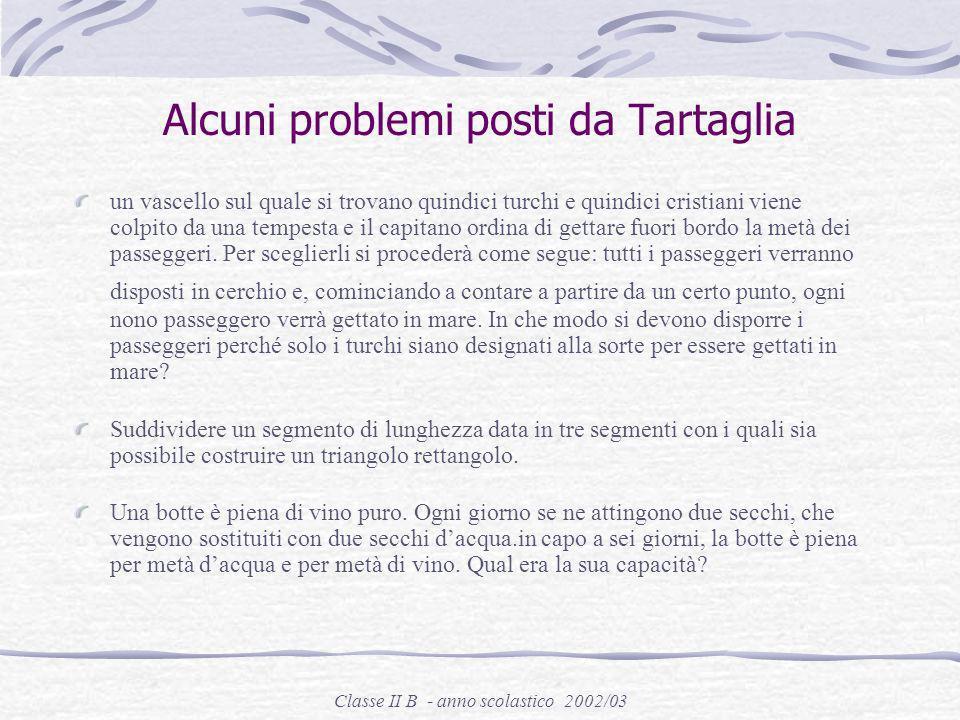 Alcuni problemi posti da Tartaglia