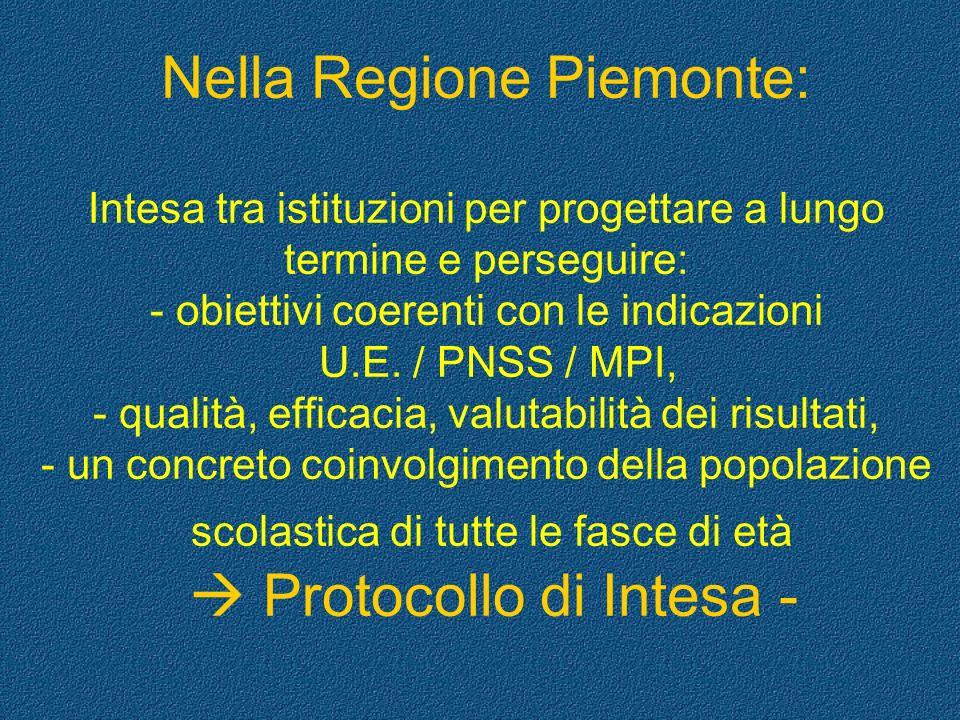 Nella Regione Piemonte: Intesa tra istituzioni per progettare a lungo termine e perseguire: - obiettivi coerenti con le indicazioni U.E.