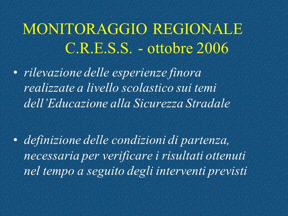 MONITORAGGIO REGIONALE C.R.E.S.S. - ottobre 2006