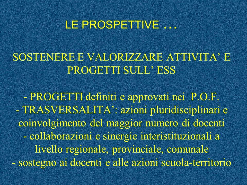 LE PROSPETTIVE … SOSTENERE E VALORIZZARE ATTIVITA' E PROGETTI SULL' ESS - PROGETTI definiti e approvati nei P.O.F.