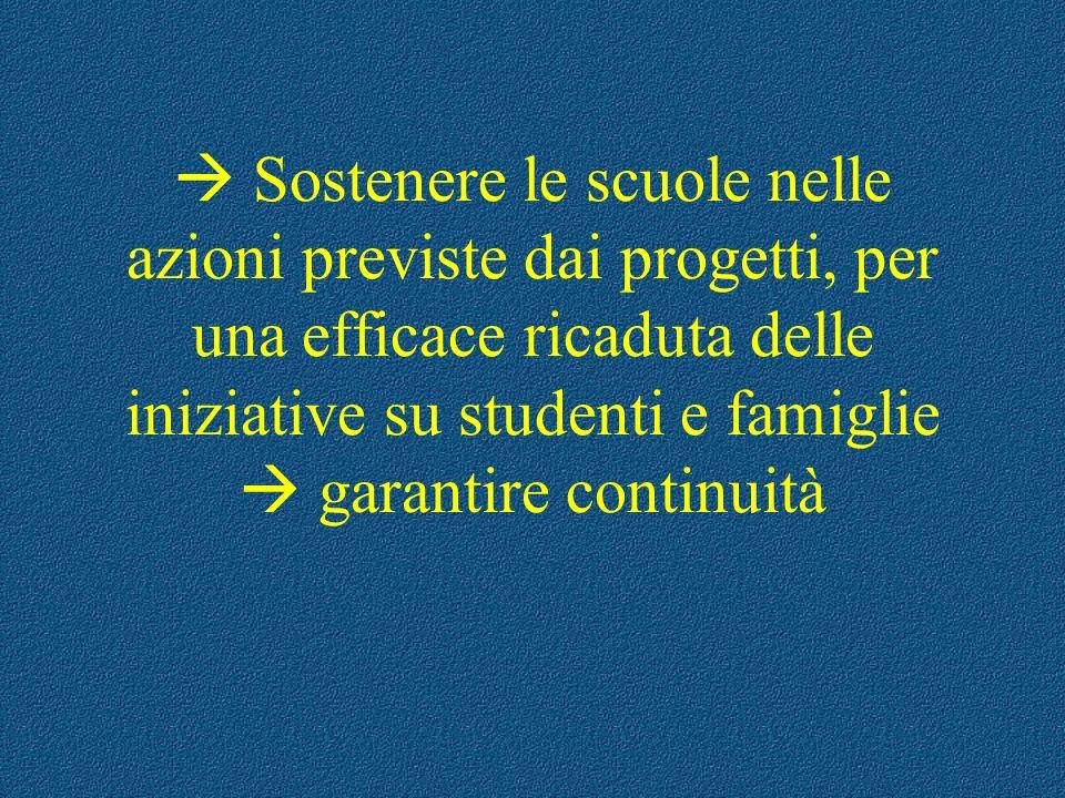  Sostenere le scuole nelle azioni previste dai progetti, per una efficace ricaduta delle iniziative su studenti e famiglie  garantire continuità