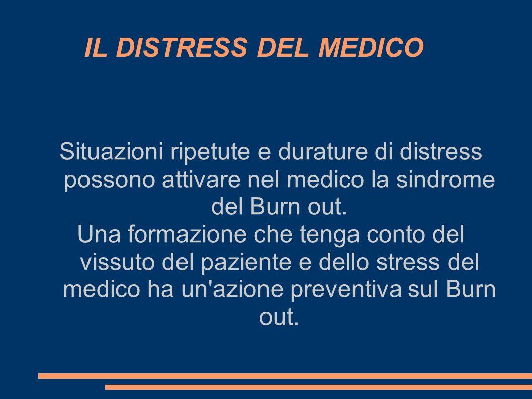 IL DISTRESS DEL MEDICO Situazioni ripetute e durature di distress possono attivare nel medico la sindrome del Burn out.