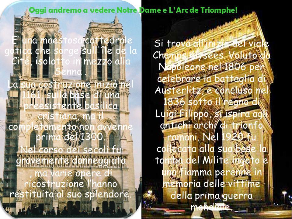Oggi andremo a vedere Notre Dame e L'Arc de Triomphe!