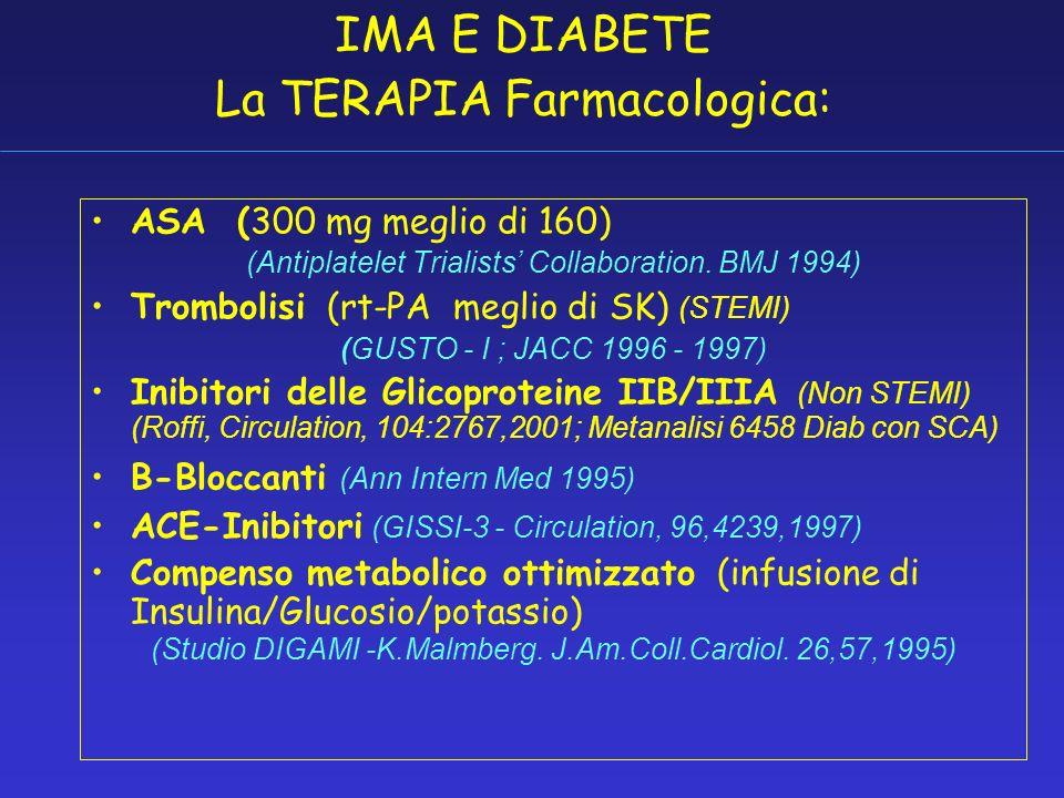 IMA E DIABETE La TERAPIA Farmacologica: