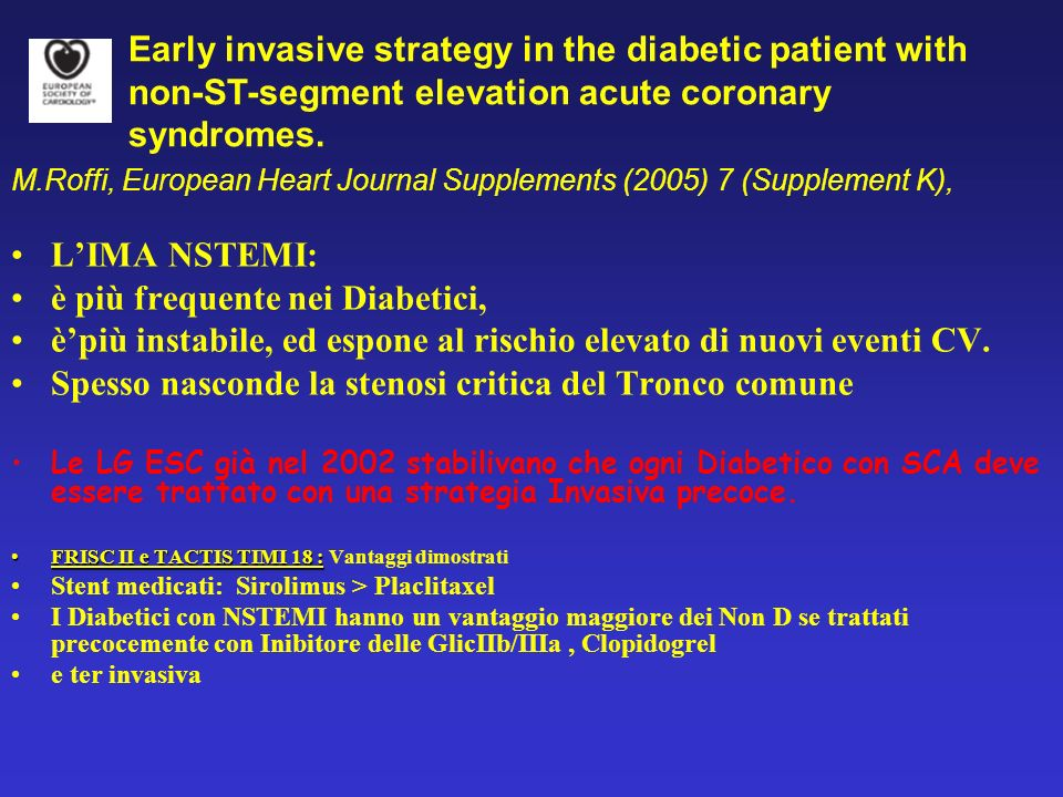 Early invasive strategy in the diabetic patient with