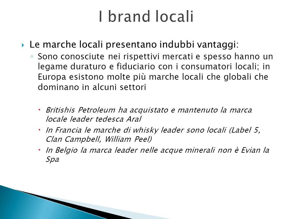 I brand locali Le marche locali presentano indubbi vantaggi: