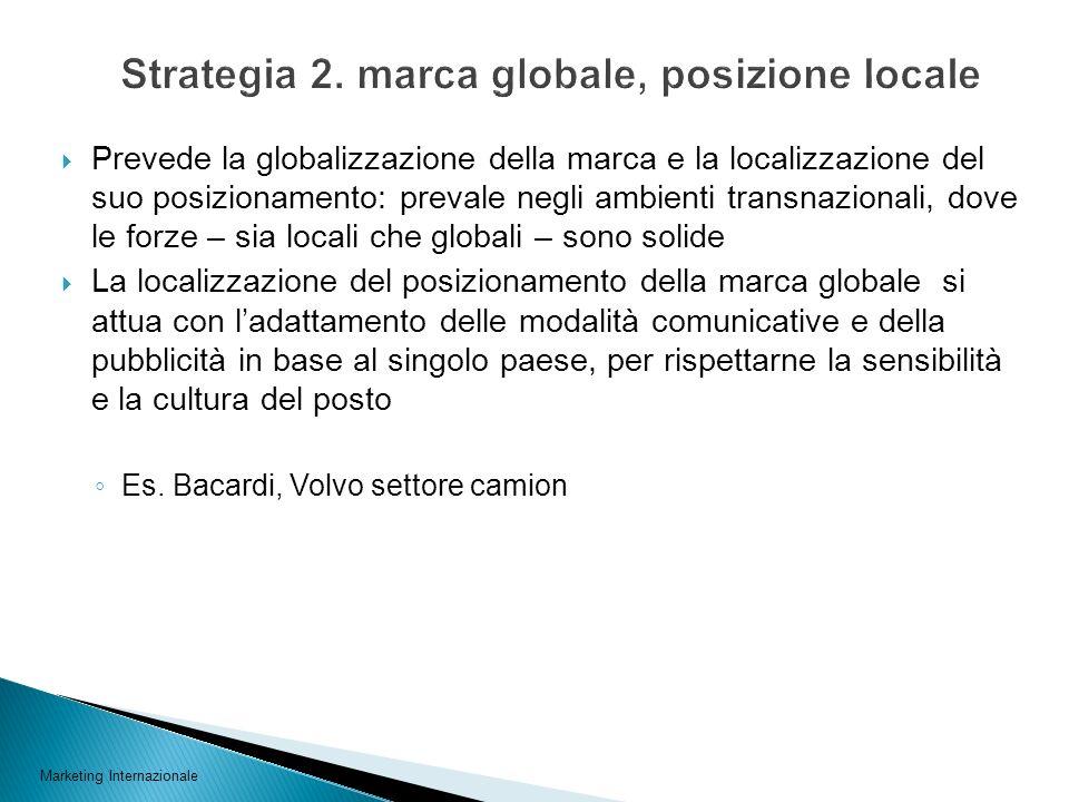 Strategia 2. marca globale, posizione locale
