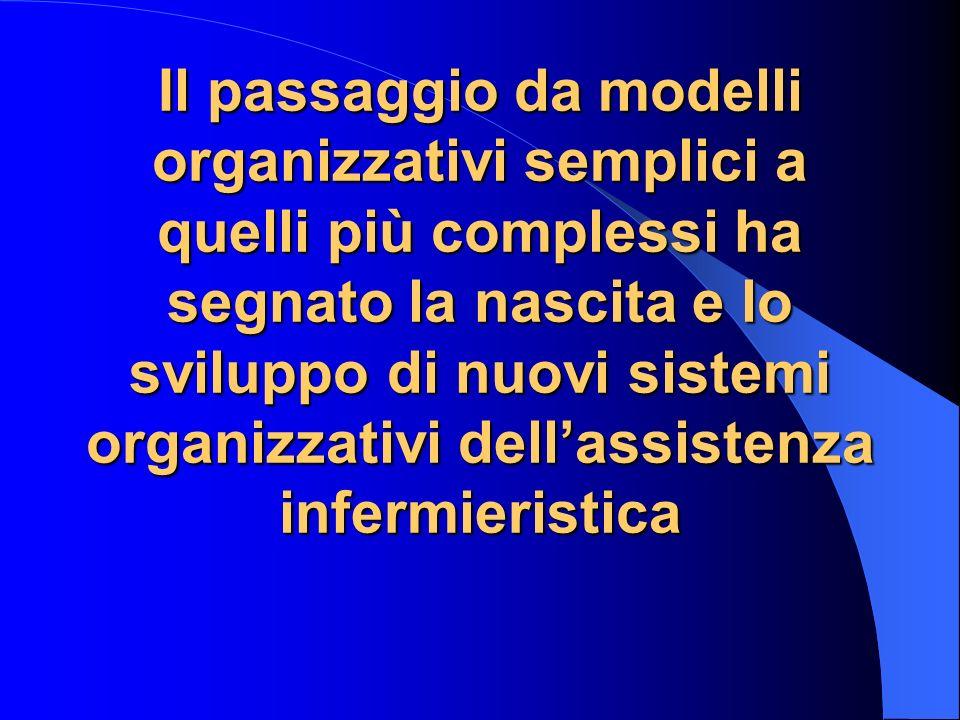 Il passaggio da modelli organizzativi semplici a quelli più complessi ha segnato la nascita e lo sviluppo di nuovi sistemi organizzativi dell'assistenza infermieristica