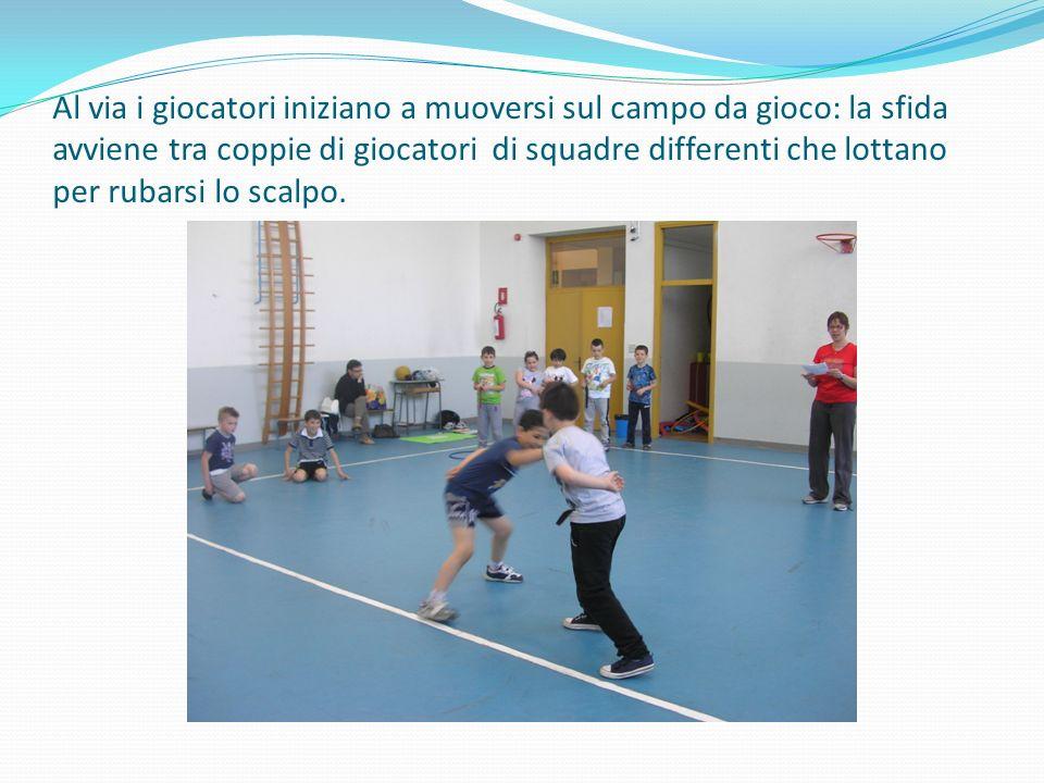 Al via i giocatori iniziano a muoversi sul campo da gioco: la sfida avviene tra coppie di giocatori di squadre differenti che lottano per rubarsi lo scalpo.