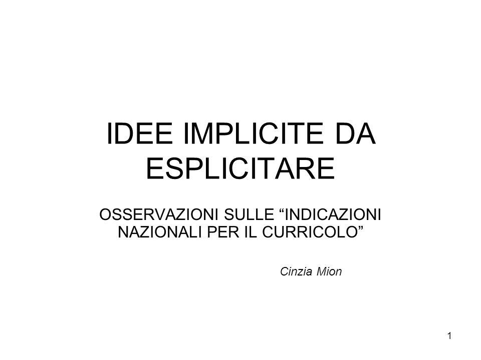 IDEE IMPLICITE DA ESPLICITARE