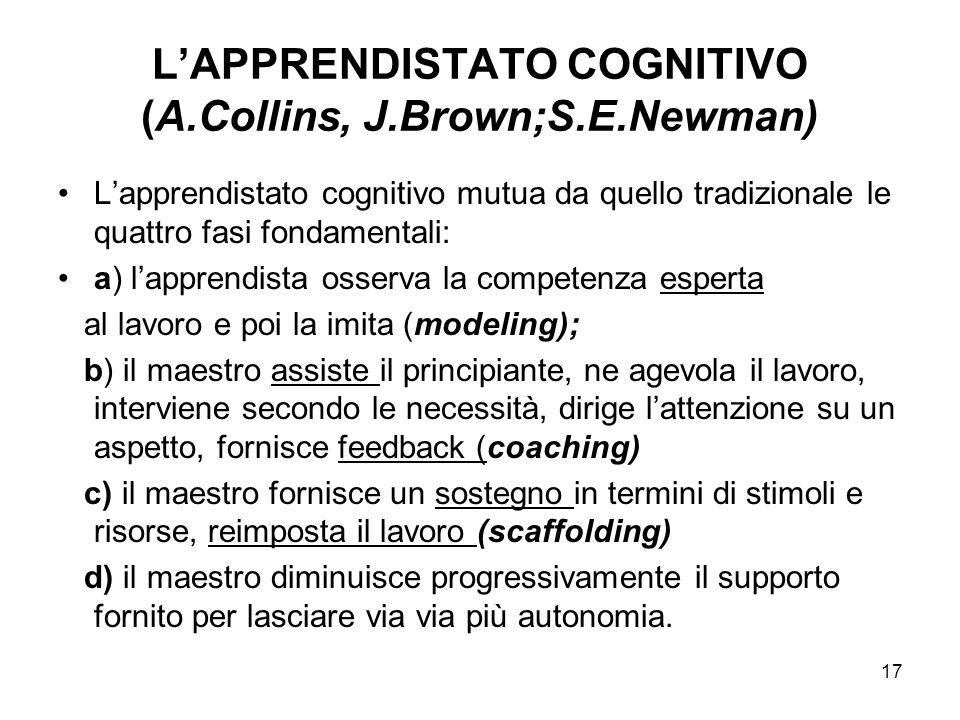L'APPRENDISTATO COGNITIVO (A.Collins, J.Brown;S.E.Newman)